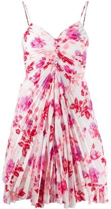 MSGM Floral Pleated Mini Dress