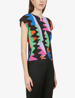 Pleats Please Issey Miyake Graphic-print pleated woven top