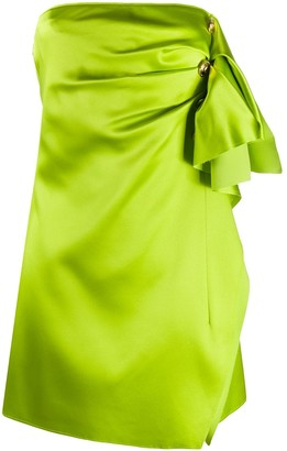 Versace Button Detail Draped Mini Dress