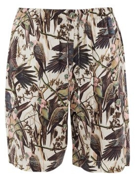 Edward Crutchley Drawstring Bird-print Silk-satin Shorts - Mens - Multi