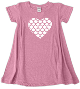 Urban Smalls Heather Pink Scale Heart SS Swing Dress - Toddler & Girls