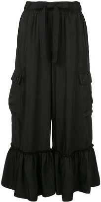 Cinq à Sept Cropped Ruffle Hem Trousers