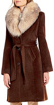 Katherine Kelly Single Breasted Detachable Fox Fur Collar Coat