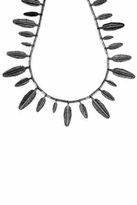 House Of Harlow Gunmetal Feather Necklace
