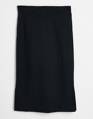 NA-KD ribbed jersey midi skirt with side slits in black