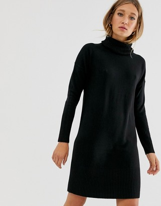 Only long sleeve roll neck jumper dress-Black