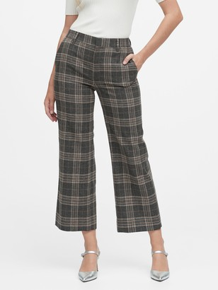 Banana Republic Slim Wide-Leg Flannel Cropped Pant