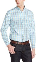 Dockers Long Sleeve No Wrinkle Button Down Collar Spade Pocket Turquoise Check Shirt
