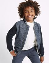 Marks and Spencer Cotton Blend Zip Through Sweatshirt (3-14 Years)