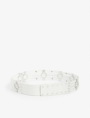 Maje Azur silver-tone stud embellished leather belt