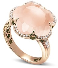 Pasquale Bruni 18K Rose Gold Bon Ton Floral Rose Quartz & Diamond Ring
