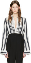 Haider Ackermann White Striped Silk Shirt