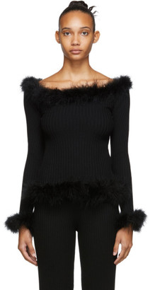Opening Ceremony Black Feather Trim Sweater