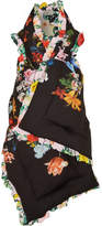 Preen by Thornton Bregazzi Posey Ruffled Floral-print Silk Crepe De Chine Padded Wrap - Black
