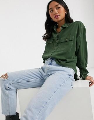Miss Selfridge utilty shirt-Green