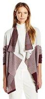 Chaus Women's Lomg Sleeve Colorblock Jacquard Cardigan
