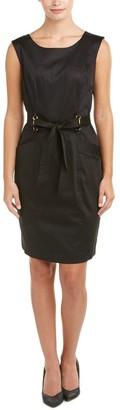 Ellen Tracy Women's Cotton Dress with Self Belt. Hardware Detail