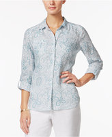 Charter Club Linen Paisley-Print Shirt, Only at Macy's