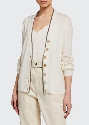 Brunello Cucinelli Monili-Beaded Wool-Cashmere Cardigan