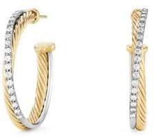 David Yurman Crossover Medium Hoop Earrings With Diamonds In 18K Gold