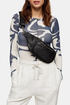 Topshop LUKA Black Leather Fanny Pack