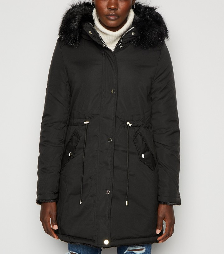 New Look QED Faux Fur Reversible Parka Coat