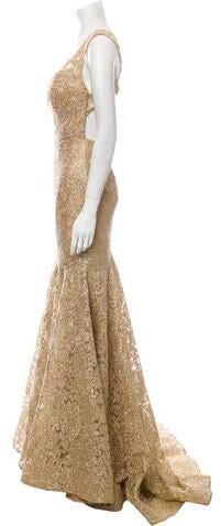 Thumbnail for your product : Jovani V-Neck Long Dress Gold
