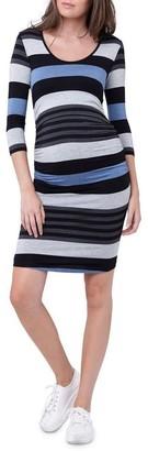 Ripe Striped Nursing Tube Dress-LS Blue