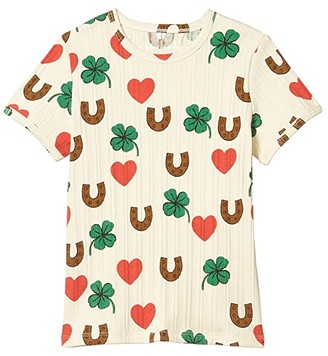 Mini Rodini Clover All Over Printed Short Sleeve Tee (Infant/Toddler/Little Kids/Big Kids) (Beige) Kid's Clothing