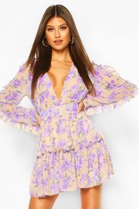 boohoo Floral Print Ruffle Sleeve Skater Dress