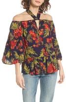 Sun & Shadow Women's Tie Neck Off The Shoulder Top
