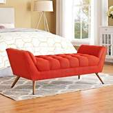 Modway Response Medium Upholstered Bench in Atomic Red