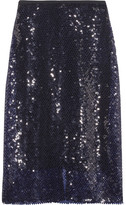 Dion Lee Sequined Knitted Midi Skirt - Midnight blue