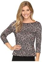 Ivanka Trump Long Sleeve Lace Peplum Top