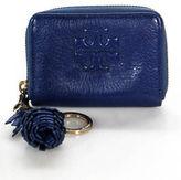 Tory Burch Blue Leather Zipper Closure 2 Pocket Mini Clutch Handbag