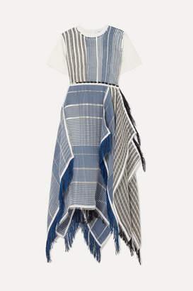 J.W.Anderson Fringed Asymmetric Cotton-jersey And Striped Gauze Midi Dress - Blue