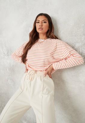 Missguided Petite Orange Stripe Drop Shoulder T Shirt