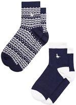 Jack Wills Pullborough 2 Pack Fairisle Ankle Socks