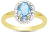 1.10 Carat TW Oval-cut Blue Topaz and Diamond Accent Ring Gold Plated (IJ-I2-I3) (December)