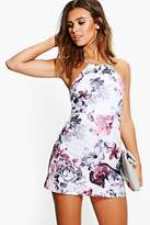 boohoo Petite Sia Floral Print Strappy Mini Dress grey