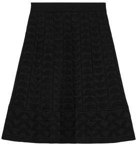 M Missoni Pleated Crochet-knit Wool-blend Skirt