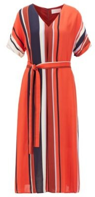 HUGO BOSS Belted Dress With Block Stripes In Italian Crepe - Patterned
