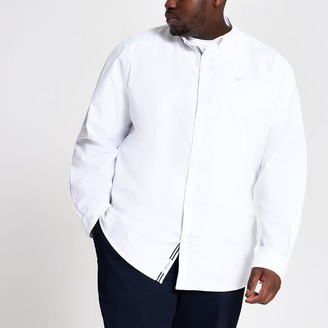 River Island Mens Big and Tall White slim fit Oxford shirt