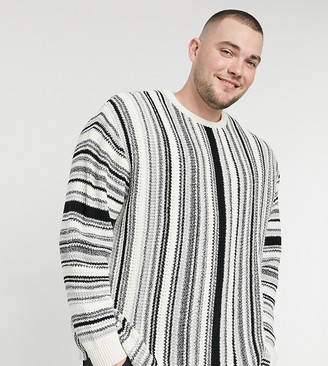 ASOS DESIGN Plus knitted sweater with monochrome textured stripes