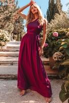 Little Mistress Nikki Mulberry One-Shoulder Maxi Dress