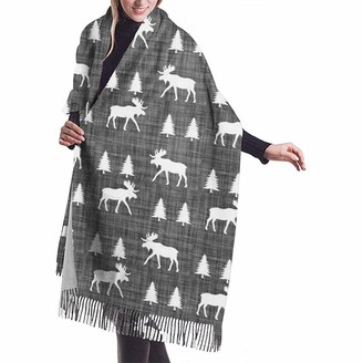 Yinyinyin.Womens Scarf Moose Trot Vintage Grey Womens Scarf Large Soft Silky Pashmina Cashmere Shawl Wrap 68 X 196 Cm