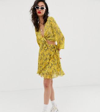 NA-KD Na Kd floral print mini skirt in yellow-Cream