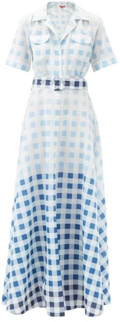 STAUD Millie Gingham Recycled-poplin Maxi Shirt Dress - Blue White