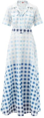STAUD Millie Gingham Recycled-poplin Maxi Shirt Dress - Blue White