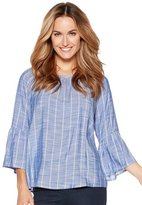 M&Co Stripe flute sleeve blouse
